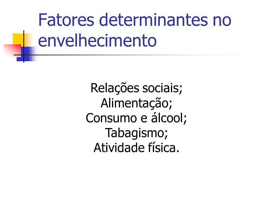 Fatores determinantes no envelhecimento Relações sociais; Alimentação; Consumo e álcool; Tabagismo; Atividade física.