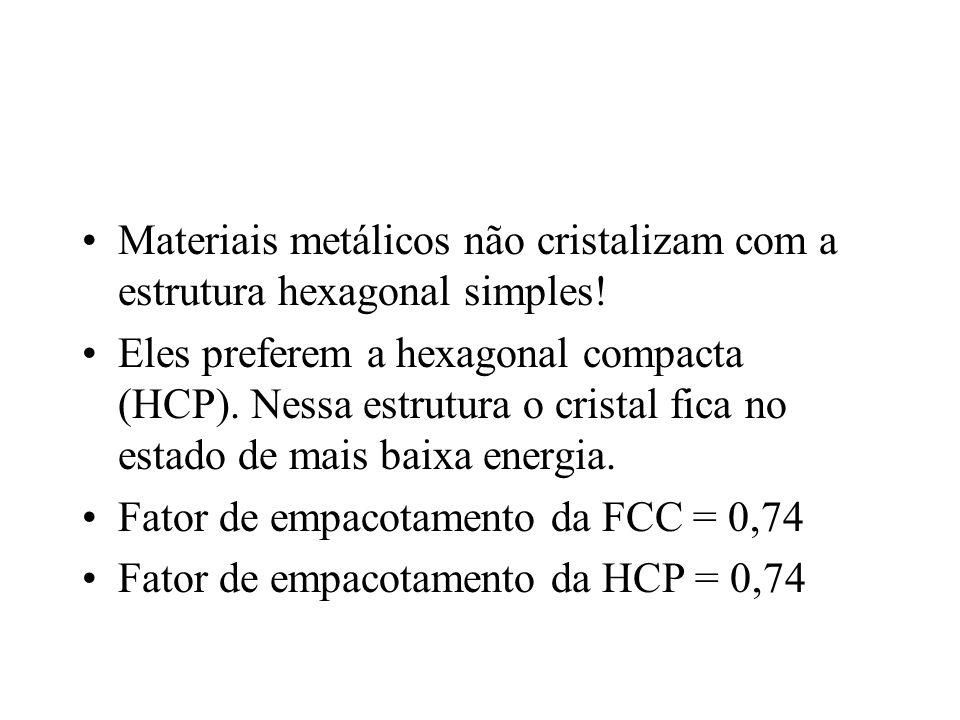 Materiais metálicos não cristalizam com a estrutura hexagonal simples! Eles preferem a hexagonal compacta (HCP). Nessa estrutura o cristal fica no est