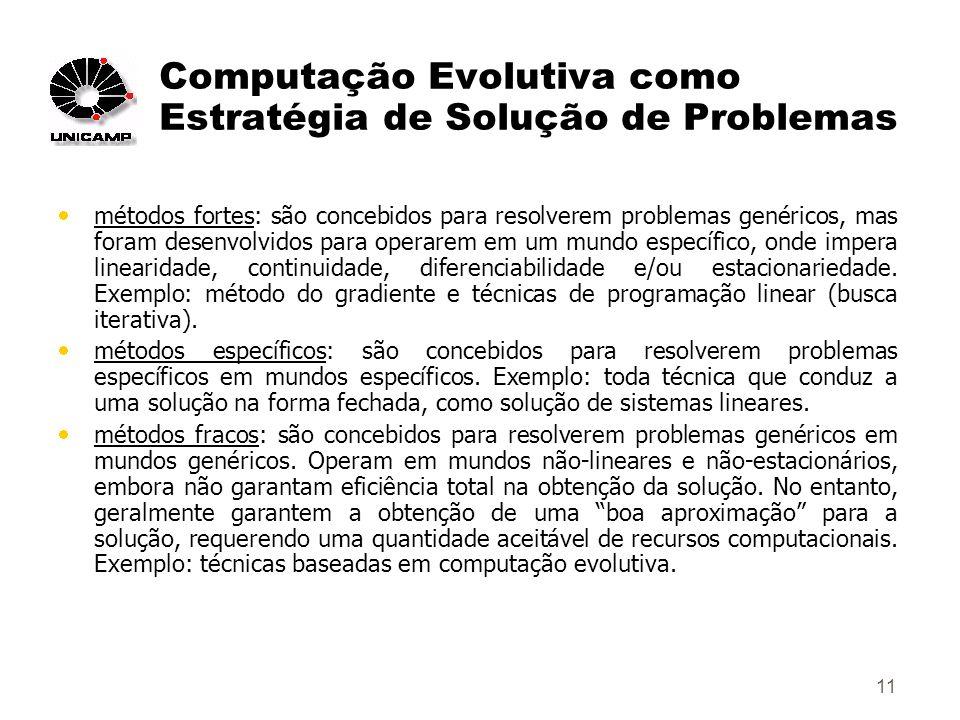 11 Computação Evolutiva como Estratégia de Solução de Problemas métodos fortes: são concebidos para resolverem problemas genéricos, mas foram desenvolvidos para operarem em um mundo específico, onde impera linearidade, continuidade, diferenciabilidade e/ou estacionariedade.