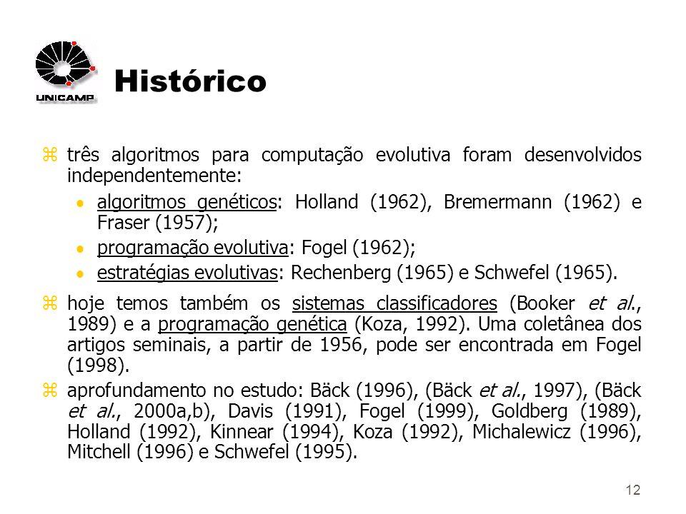 12 Histórico ztrês algoritmos para computação evolutiva foram desenvolvidos independentemente: algoritmos genéticos: Holland (1962), Bremermann (1962) e Fraser (1957); programação evolutiva: Fogel (1962); estratégias evolutivas: Rechenberg (1965) e Schwefel (1965).