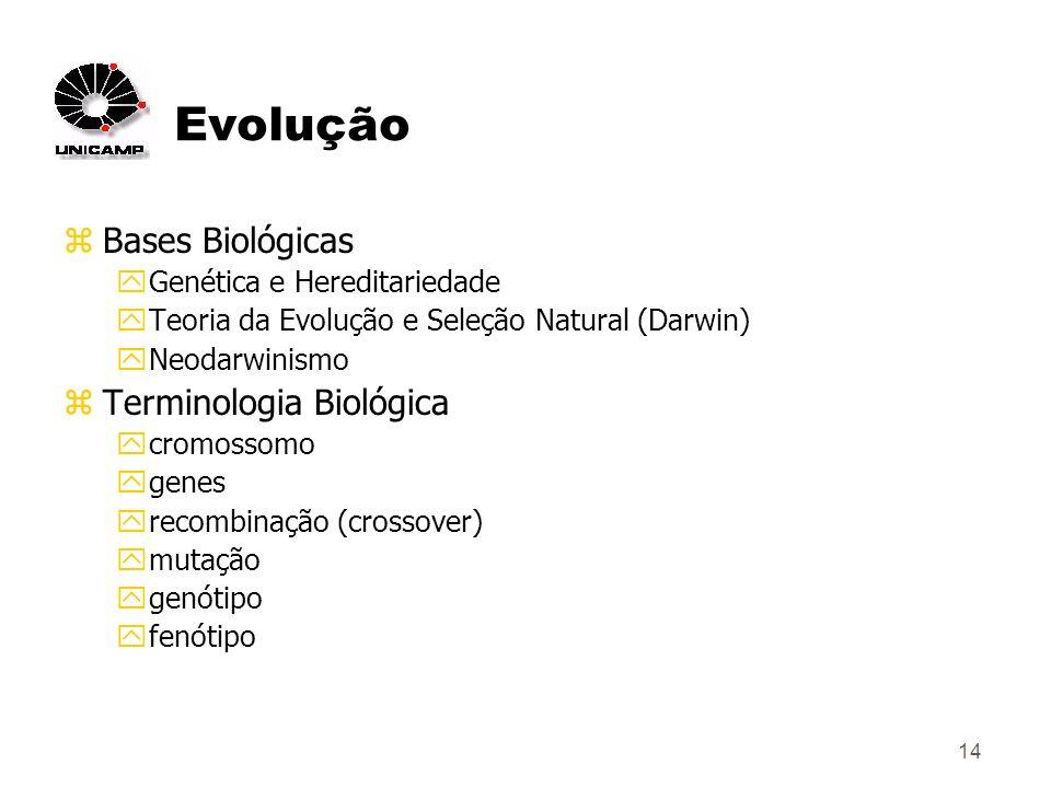 14 Evolução zBases Biológicas yGenética e Hereditariedade yTeoria da Evolução e Seleção Natural (Darwin) yNeodarwinismo zTerminologia Biológica ycromossomo ygenes yrecombinação (crossover) ymutação ygenótipo yfenótipo