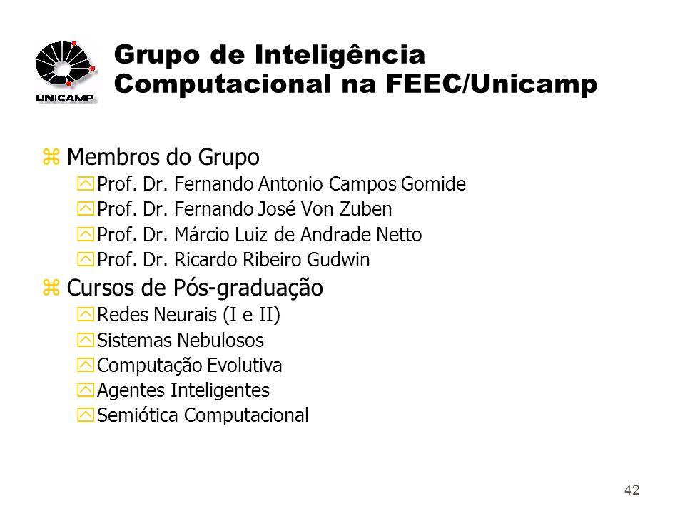 42 Grupo de Inteligência Computacional na FEEC/Unicamp zMembros do Grupo yProf.