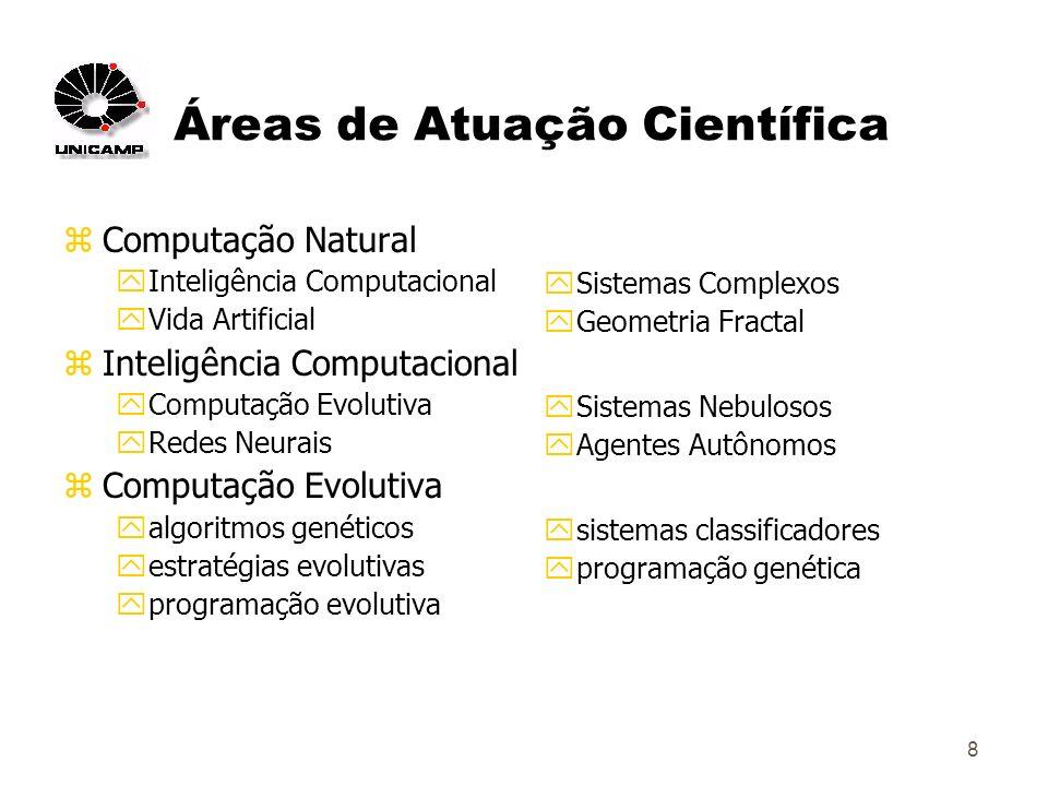 8 Áreas de Atuação Científica zComputação Natural yInteligência Computacional yVida Artificial zInteligência Computacional yComputação Evolutiva yRedes Neurais zComputação Evolutiva yalgoritmos genéticos yestratégias evolutivas yprogramação evolutiva ySistemas Complexos yGeometria Fractal ySistemas Nebulosos yAgentes Autônomos ysistemas classificadores yprogramação genética