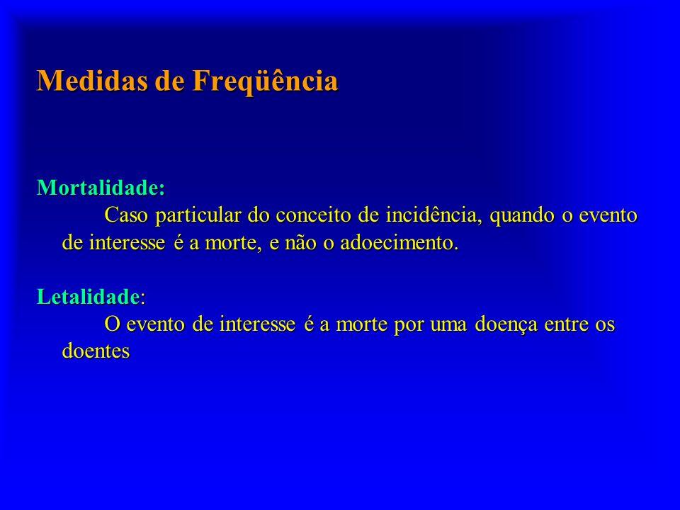 Medidas de Freqüência Mortalidade: Caso particular do conceito de incidência, quando o evento de interesse é a morte, e não o adoecimento. Letalidade: