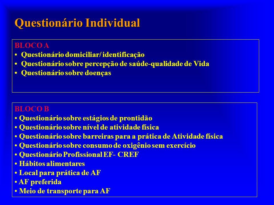 BLOCO A Questionário domiciliar/ identificação Questionário sobre percepção de saúde-qualidade de Vida Questionário sobre doenças BLOCO B Questionário