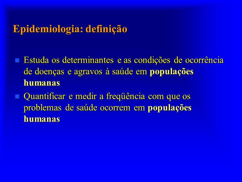 n Estuda os determinantes e as condições de ocorrência de doenças e agravos à saúde em populações humanas n Quantificar e medir a freqüência com que o