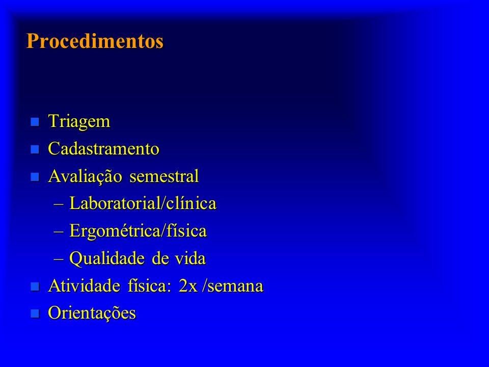 Procedimentos n Triagem n Cadastramento n Avaliação semestral –Laboratorial/clínica –Ergométrica/física –Qualidade de vida n Atividade física: 2x /semana n Orientações