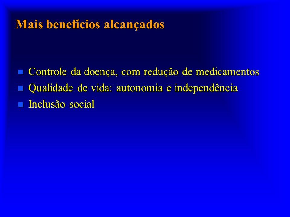 Mais benefícios alcançados n Controle da doença, com redução de medicamentos n Qualidade de vida: autonomia e independência n Inclusão social