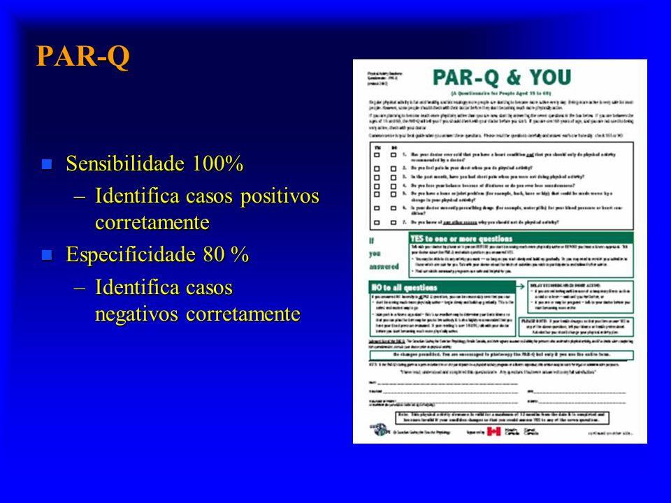 PAR-Q n Sensibilidade 100% –Identifica casos positivos corretamente n Especificidade 80 % –Identifica casos negativos corretamente