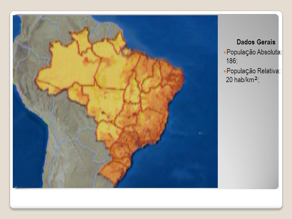 Dados Gerais Popula ç ão Absoluta: 186; Popula ç ão Relativa: 20 hab/km ² ;