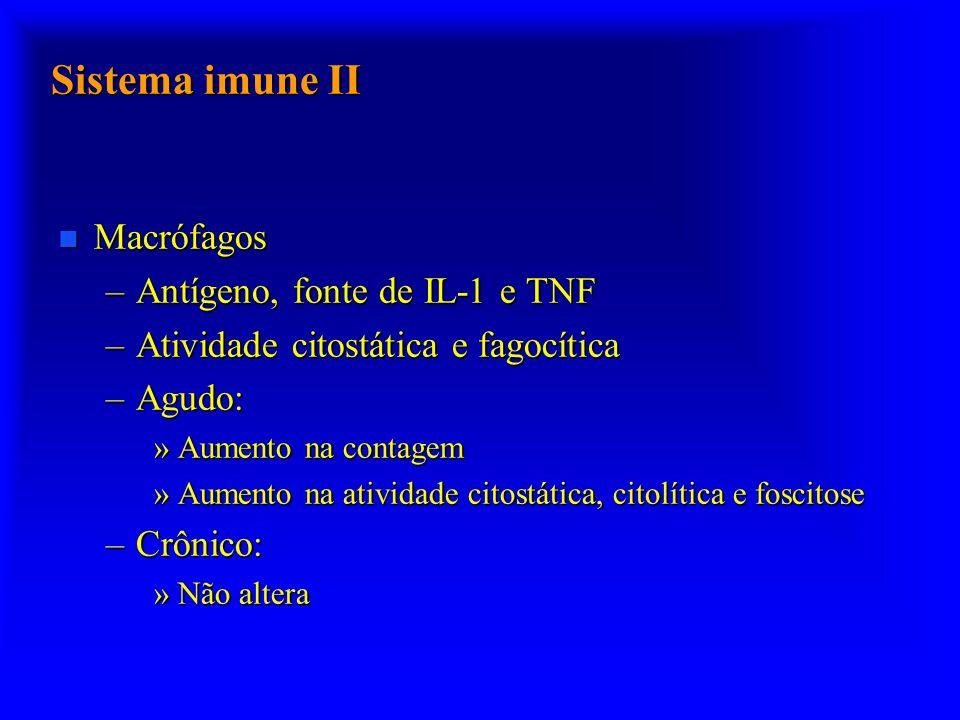 Sistema imune II n Macrófagos –Antígeno, fonte de IL-1 e TNF –Atividade citostática e fagocítica –Agudo: »Aumento na contagem »Aumento na atividade citostática, citolítica e foscitose –Crônico: »Não altera