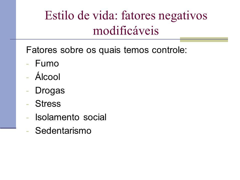 Estilo de vida: fatores negativos modificáveis Fatores sobre os quais temos controle: - Fumo - Álcool - Drogas - Stress - Isolamento social - Sedentar