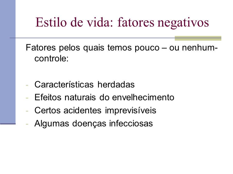 Estilo de vida: fatores negativos Fatores pelos quais temos pouco – ou nenhum- controle: - Características herdadas - Efeitos naturais do envelhecimen