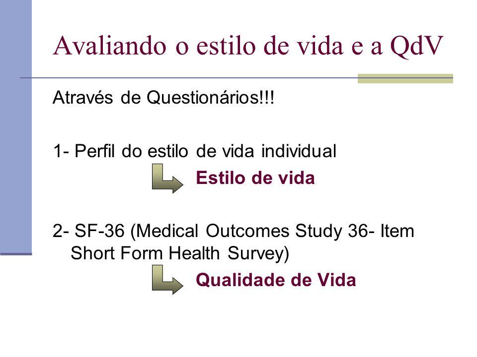 Avaliando o estilo de vida e a QdV Através de Questionários!!! 1- Perfil do estilo de vida individual Estilo de vida 2- SF-36 (Medical Outcomes Study