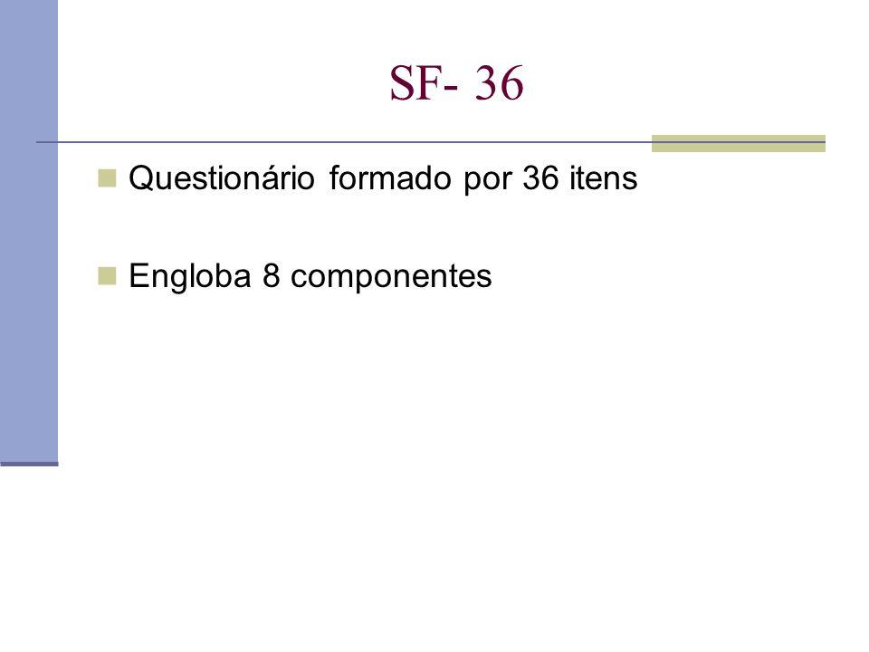 SF- 36 Questionário formado por 36 itens Engloba 8 componentes