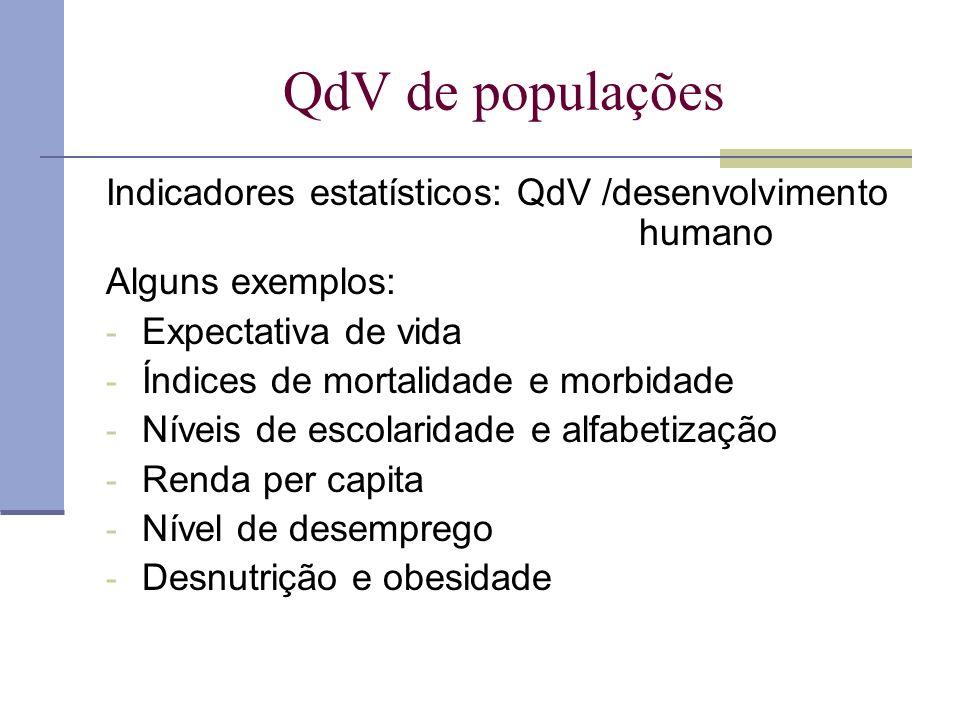 QdV de populações Indicadores estatísticos: QdV /desenvolvimento humano Alguns exemplos: - Expectativa de vida - Índices de mortalidade e morbidade -