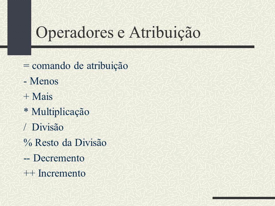 Operadores e Atribuição = comando de atribuição - Menos + Mais * Multiplicação / Divisão % Resto da Divisão -- Decremento ++ Incremento