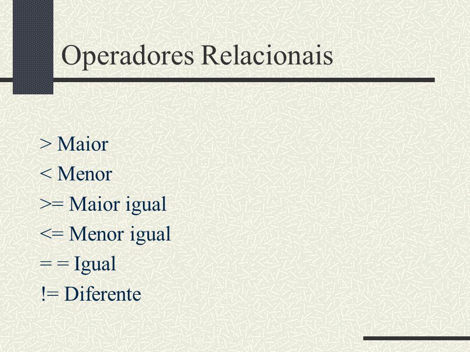 Operadores Relacionais > Maior < Menor >= Maior igual <= Menor igual = = Igual != Diferente