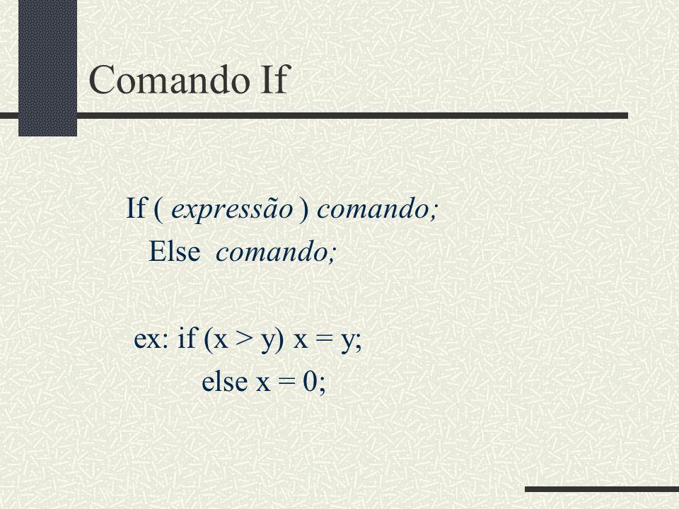 Comando If If ( expressão ) comando; Else comando; ex: if (x > y) x = y; else x = 0;