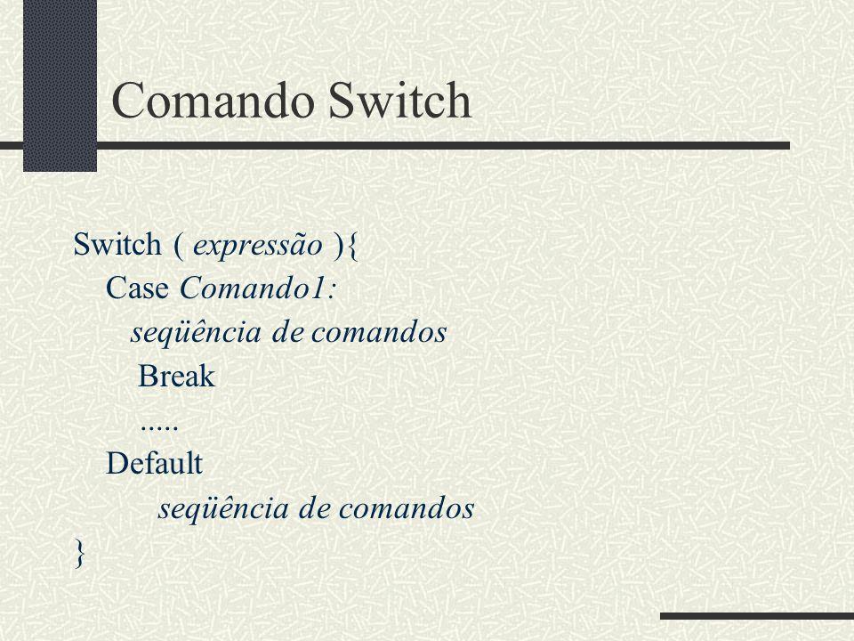 Comando Switch Switch ( expressão ){ Case Comando1: seqüência de comandos Break..... Default seqüência de comandos }