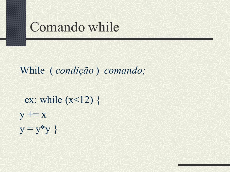 Comando while While ( condição ) comando; ex: while (x<12) { y += x y = y*y }