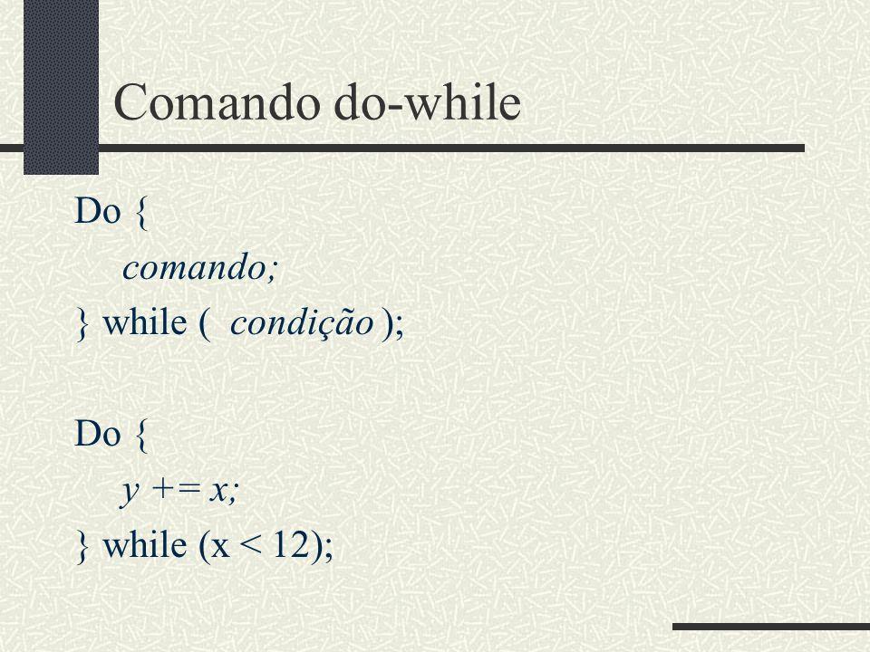 Comando do-while Do { comando; } while ( condição ); Do { y += x; } while (x < 12);