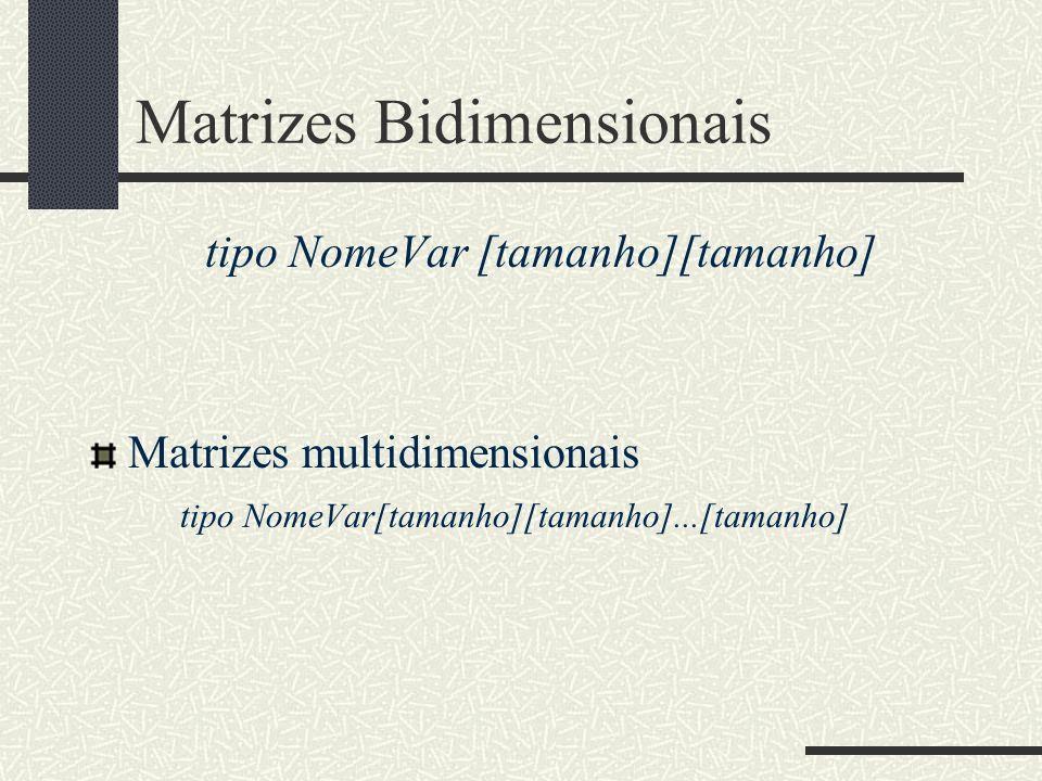 Matrizes Bidimensionais tipo NomeVar [tamanho][tamanho] Matrizes multidimensionais tipo NomeVar[tamanho][tamanho]...[tamanho]