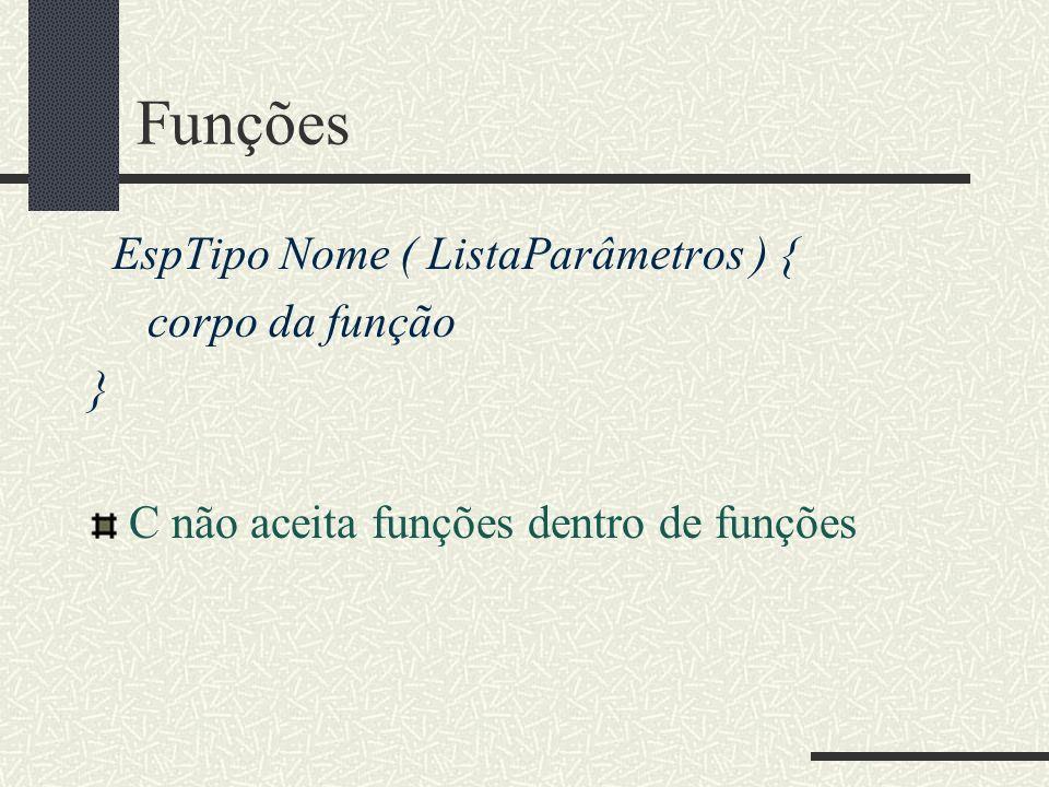 Funções EspTipo Nome ( ListaParâmetros ) { corpo da função } C não aceita funções dentro de funções