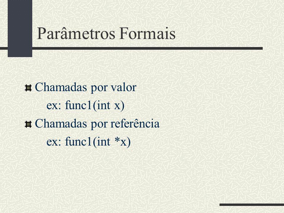 Parâmetros Formais Chamadas por valor ex: func1(int x) Chamadas por referência ex: func1(int *x)