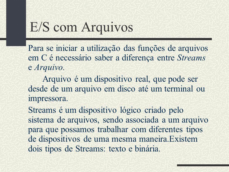 E/S com Arquivos Para se iniciar a utilização das funções de arquivos em C é necessário saber a diferença entre Streams e Arquivo. Arquivo é um dispos