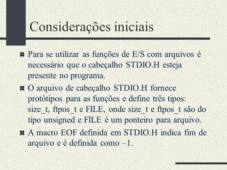 Considerações iniciais Para se utilizar as funções de E/S com arquivos é necessário que o cabeçalho STDIO.H esteja presente no programa. O arquivo de