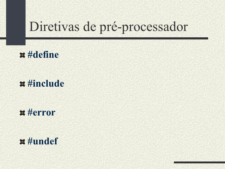 Diretivas de pré-processador #define #include #error #undef