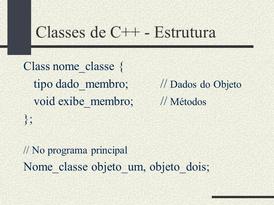 Classes de C++ - Estrutura Class nome_classe { tipo dado_membro; // Dados do Objeto void exibe_membro;// Métodos }; // No programa principal Nome_clas
