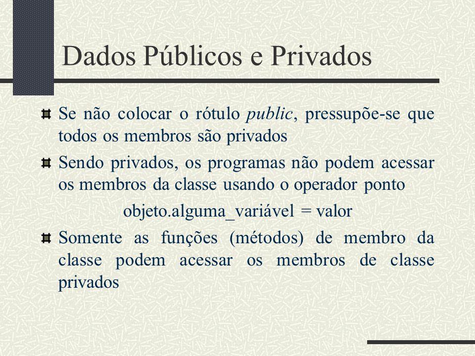 Dados Públicos e Privados Se não colocar o rótulo public, pressupõe-se que todos os membros são privados Sendo privados, os programas não podem acessa