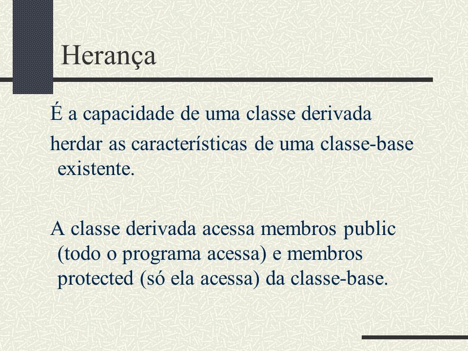 Herança É a capacidade de uma classe derivada herdar as características de uma classe-base existente. A classe derivada acessa membros public (todo o
