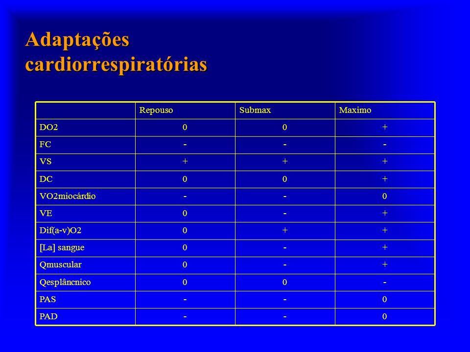 Adaptações cardiorrespiratórias 0--PAD 0--PAS -00Qesplâncnico +-0Qmuscular +-0[La] sangue ++0Dif(a-v)O2 +-0VE 0--VO2miocárdio +00DC +++VS ---FC +00DO2