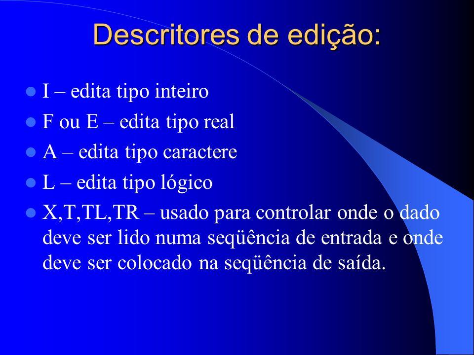 Descritores de edição: I – edita tipo inteiro F ou E – edita tipo real A – edita tipo caractere L – edita tipo lógico X,T,TL,TR – usado para controlar