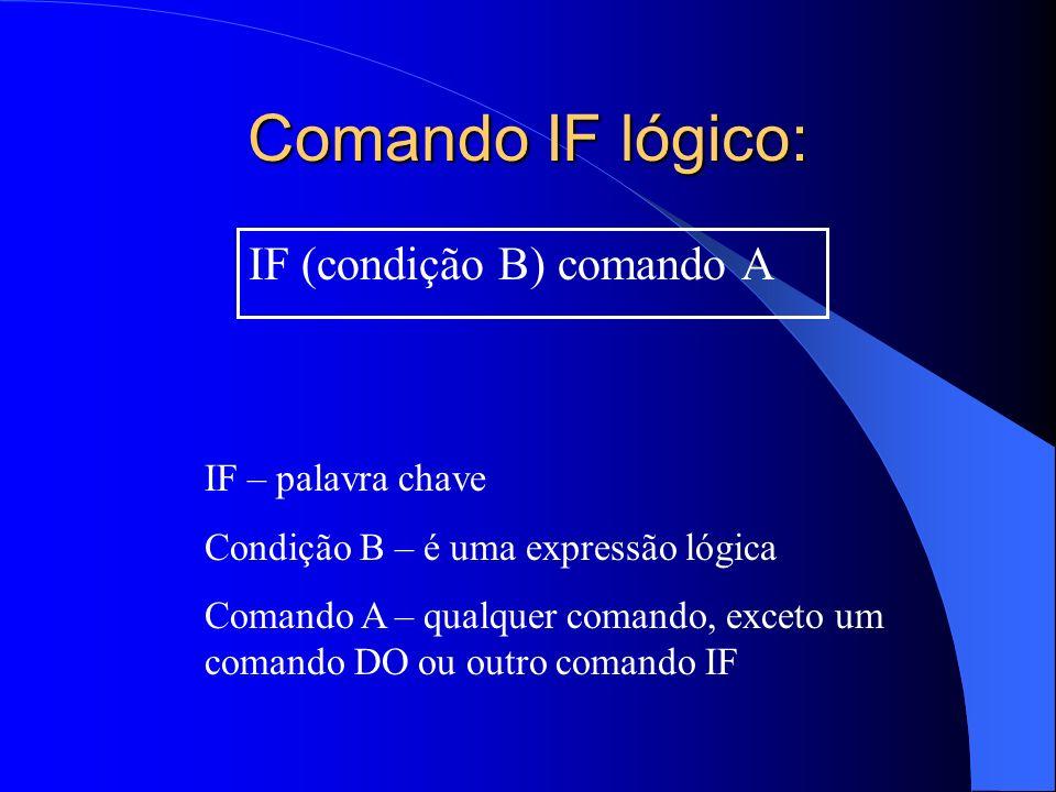 Comando IF lógico: IF (condição B) comando A IF – palavra chave Condição B – é uma expressão lógica Comando A – qualquer comando, exceto um comando DO
