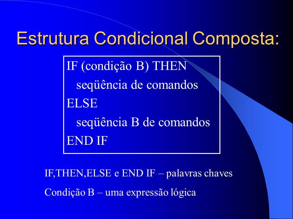 Estrutura Condicional Composta: IF (condição B) THEN seqüência de comandos ELSE seqüência B de comandos END IF IF,THEN,ELSE e END IF – palavras chaves