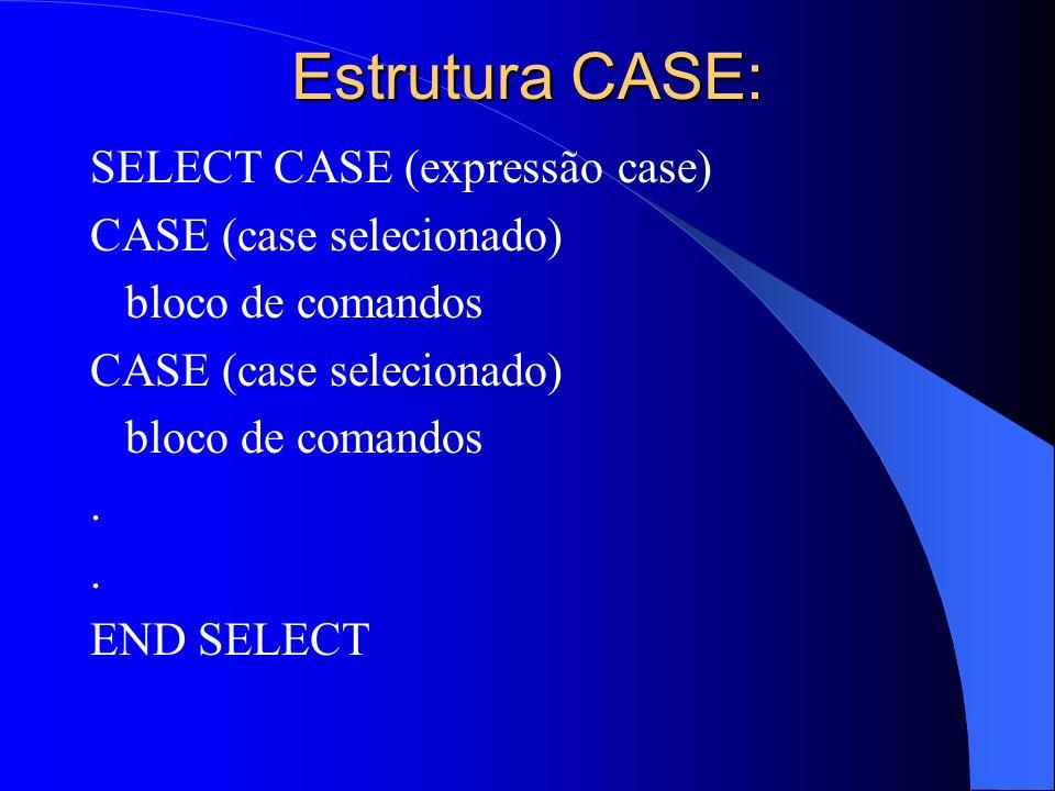 Estrutura CASE: SELECT CASE (expressão case) CASE (case selecionado) bloco de comandos CASE (case selecionado) bloco de comandos. END SELECT