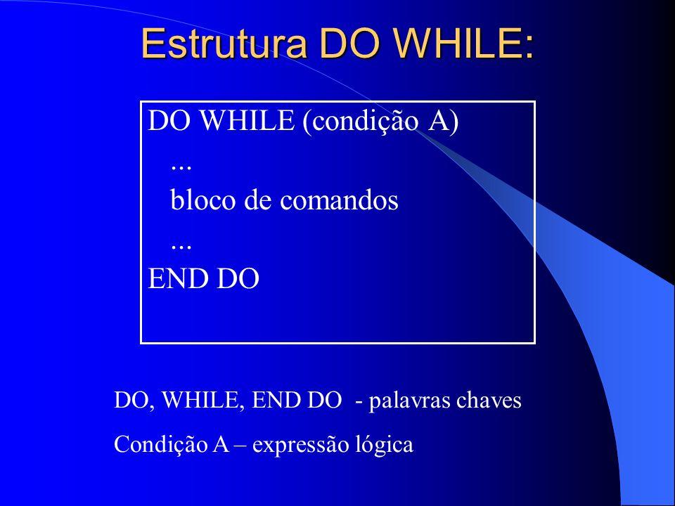 Estrutura DO WHILE: DO WHILE (condição A)... bloco de comandos... END DO DO, WHILE, END DO - palavras chaves Condição A – expressão lógica