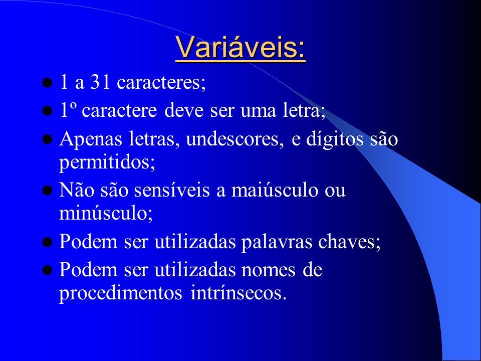 Variáveis: 1 a 31 caracteres; 1º caractere deve ser uma letra; Apenas letras, undescores, e dígitos são permitidos; Não são sensíveis a maiúsculo ou m