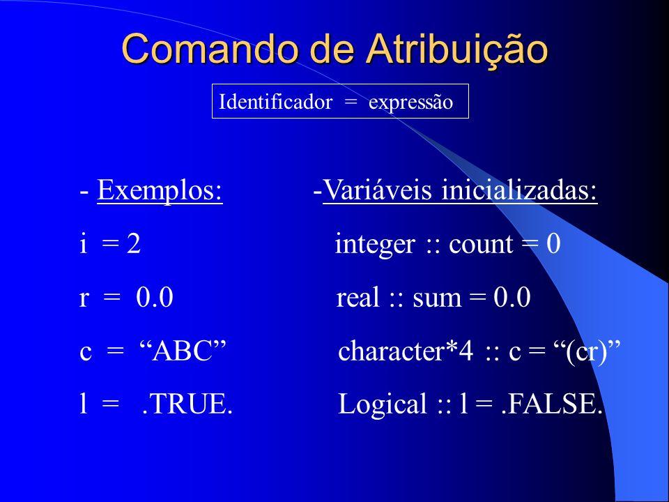 Comando de Atribuição Identificador = expressão - Exemplos: -Variáveis inicializadas: i = 2 integer :: count = 0 r = 0.0 real :: sum = 0.0 c = ABC cha