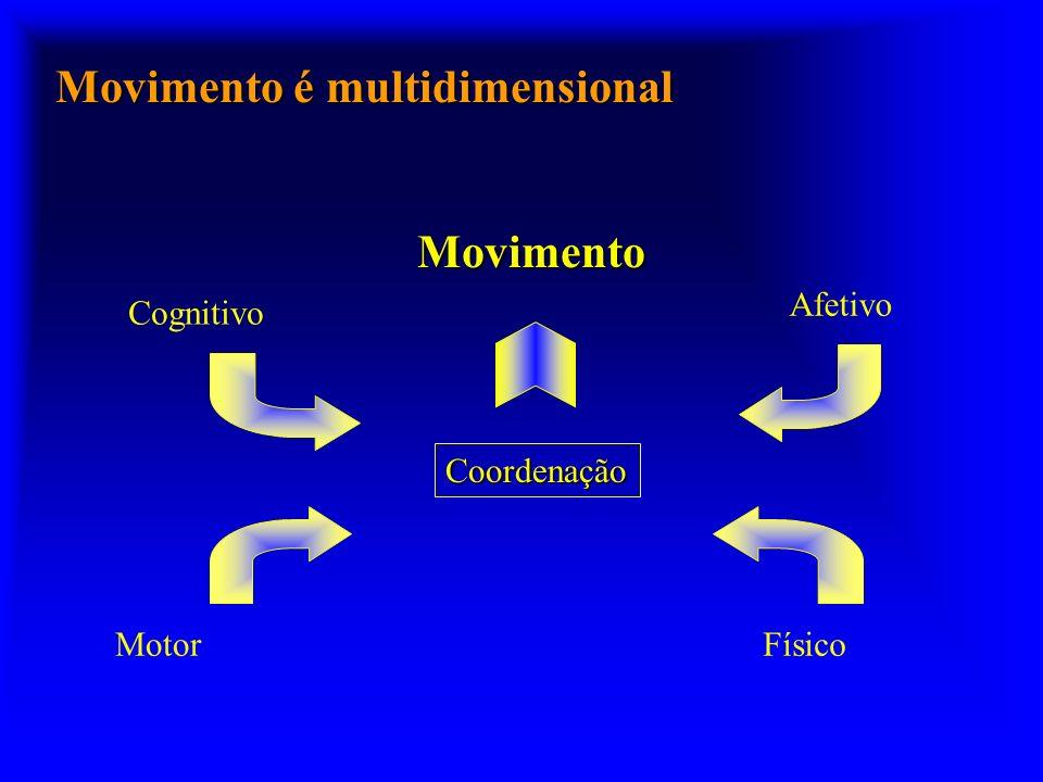 Movimento é multidimensional Movimento Cognitivo Coordenação Motor Afetivo Físico