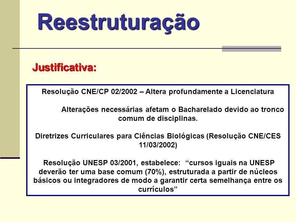 Reestruturação Resolução CNE/CP 02/2002 – Altera profundamente a Licenciatura Alterações necessárias afetam o Bacharelado devido ao tronco comum de di