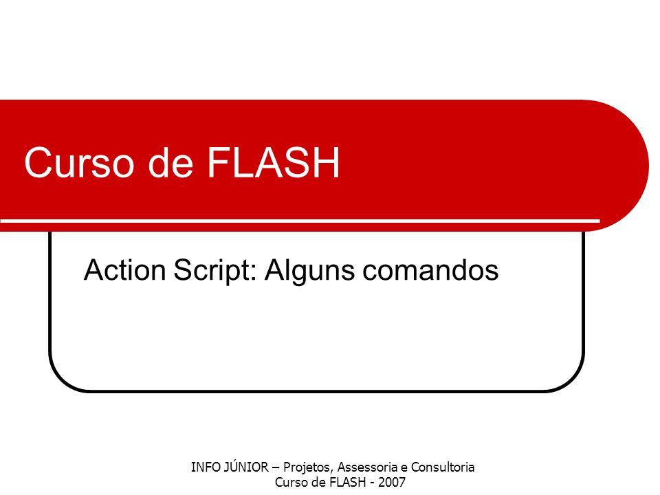 Curso de FLASH Action Script: Alguns comandos INFO JÚNIOR – Projetos, Assessoria e Consultoria Curso de FLASH - 2007