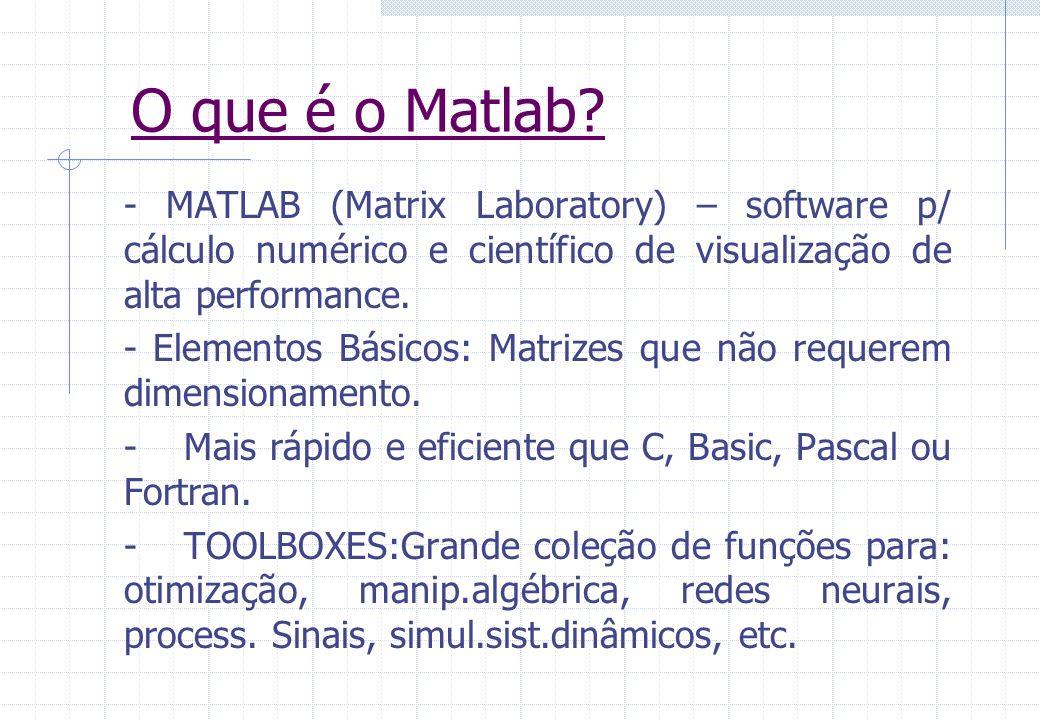 Programação: Controladores de Fluxo Arquivos m : Scripts matrizes extensas Comandos frequentemente digitados Funções Função Funções