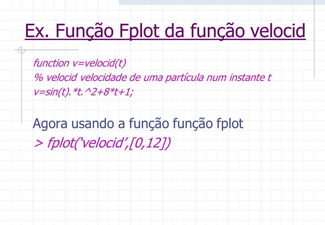 Ex. Função Fplot da função velocid function v=velocid(t) % velocid velocidade de uma partícula num instante t v=sin(t).*t.^2+8*t+1; Agora usando a fun