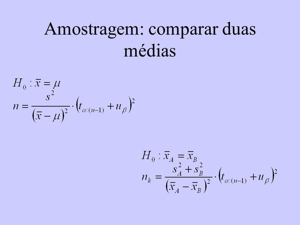 Amostragem: comparar duas médias