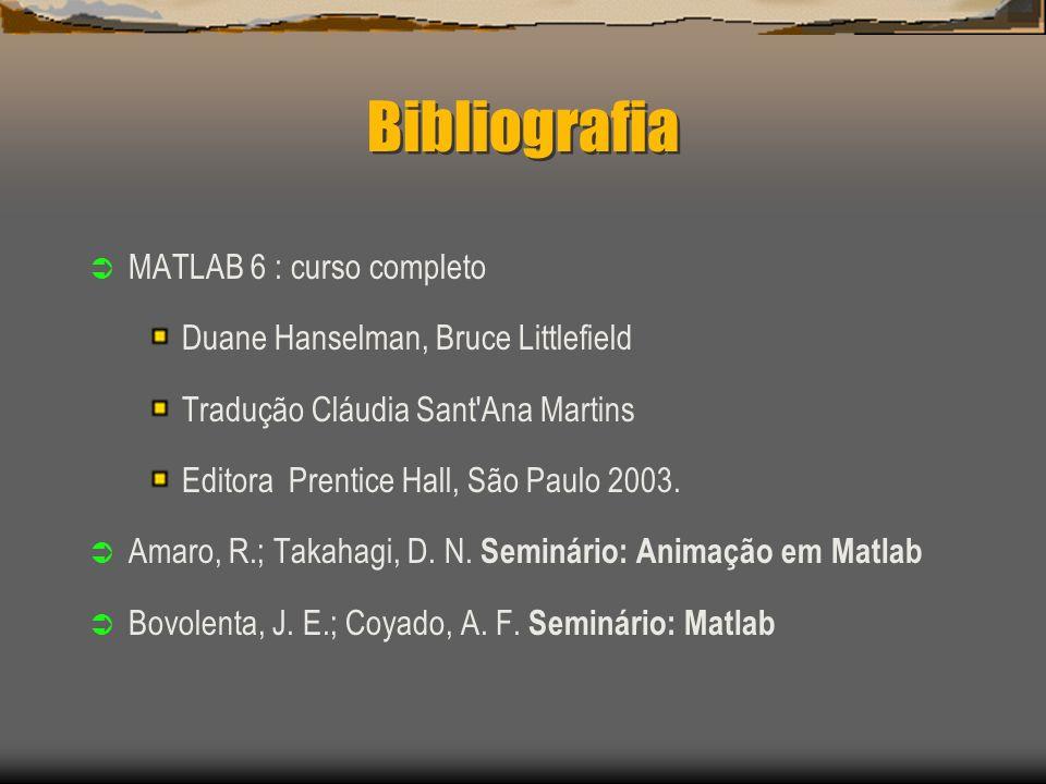 Bibliografia MATLAB 6 : curso completo Duane Hanselman, Bruce Littlefield Tradução Cláudia Sant Ana Martins Editora Prentice Hall, São Paulo 2003.